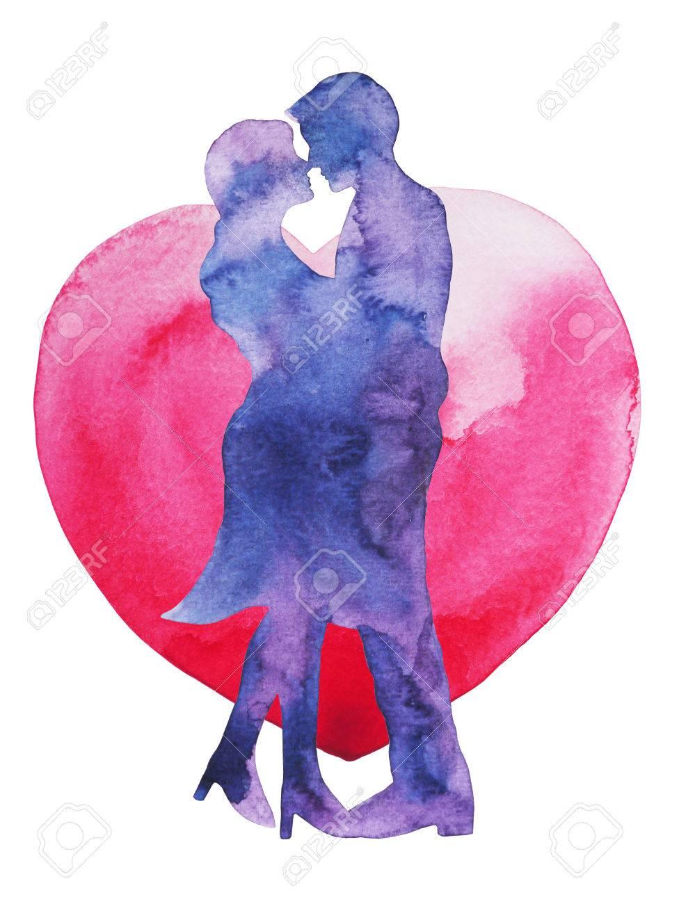 幸せなカップルの恋人の心の背景、結婚式のカードや婚約、キスに従事