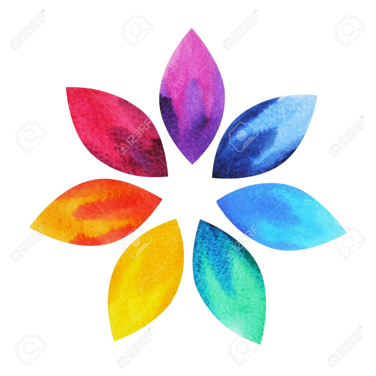 7 color of chakra sign symbol colorful lotus flower icon 7 color of chakra sign symbol colorful lotus flower icon watercolor painting hand drawn mightylinksfo