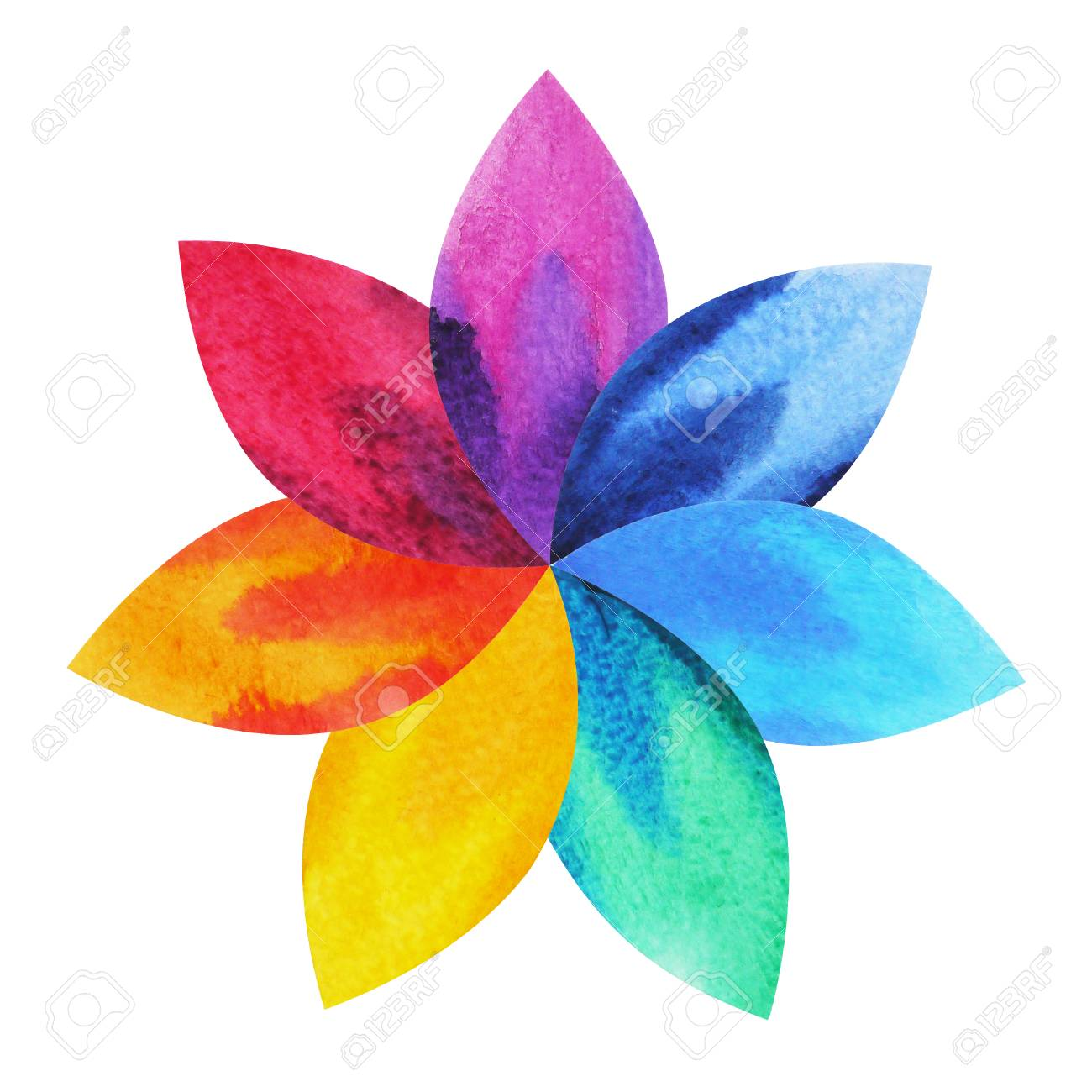 7 color of chakra sign symbol colorful lotus flower icon 7 color of chakra sign symbol colorful lotus flower icon watercolor painting hand drawn mightylinksfo Images