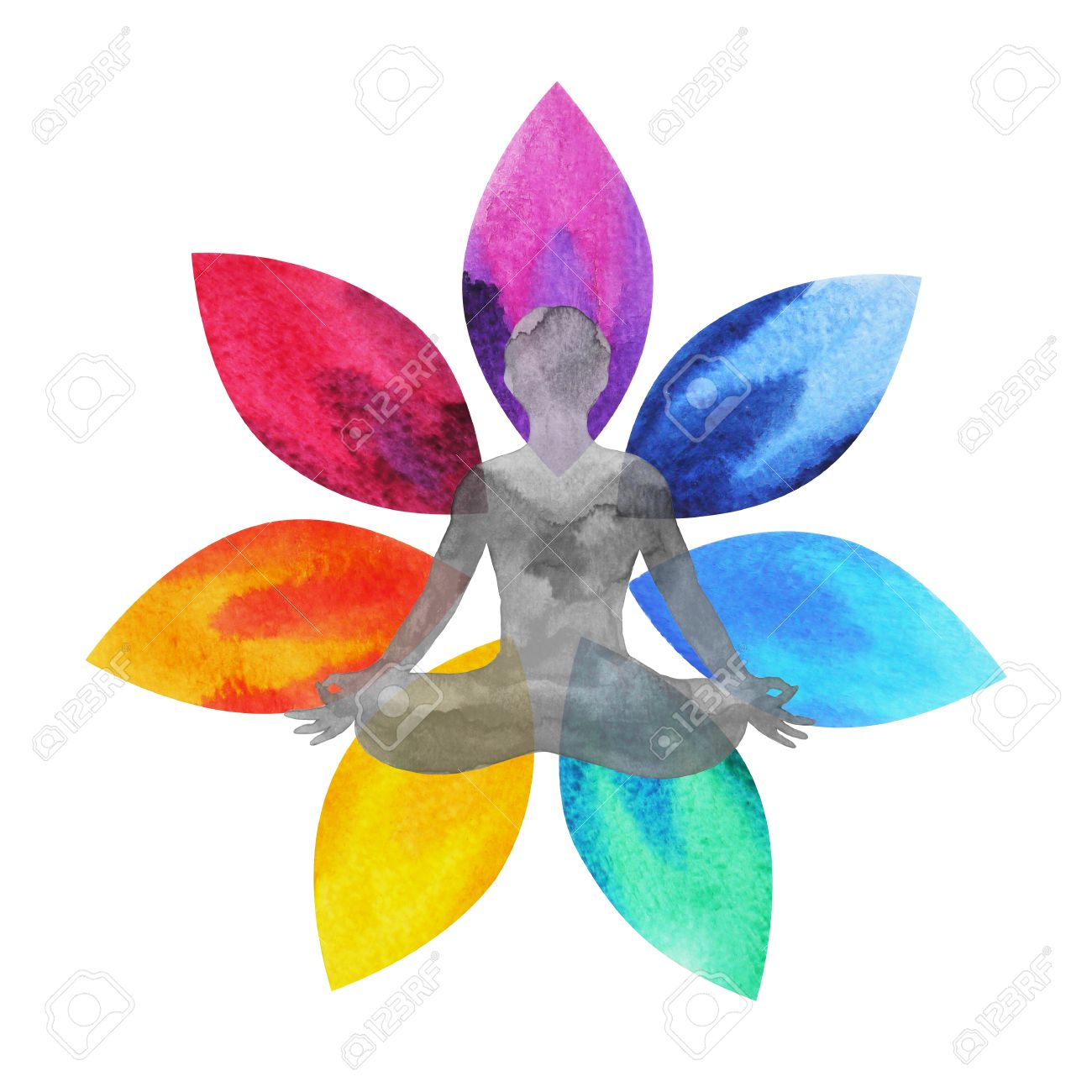 7 Color Of Chakra Symbol Lotus Flower With Human Body Watercolor