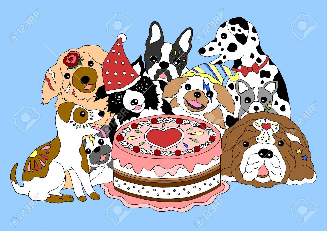 Dogs Happy Birthday Party With Big Cake Hand Drawn Vector Illustration Design Stock