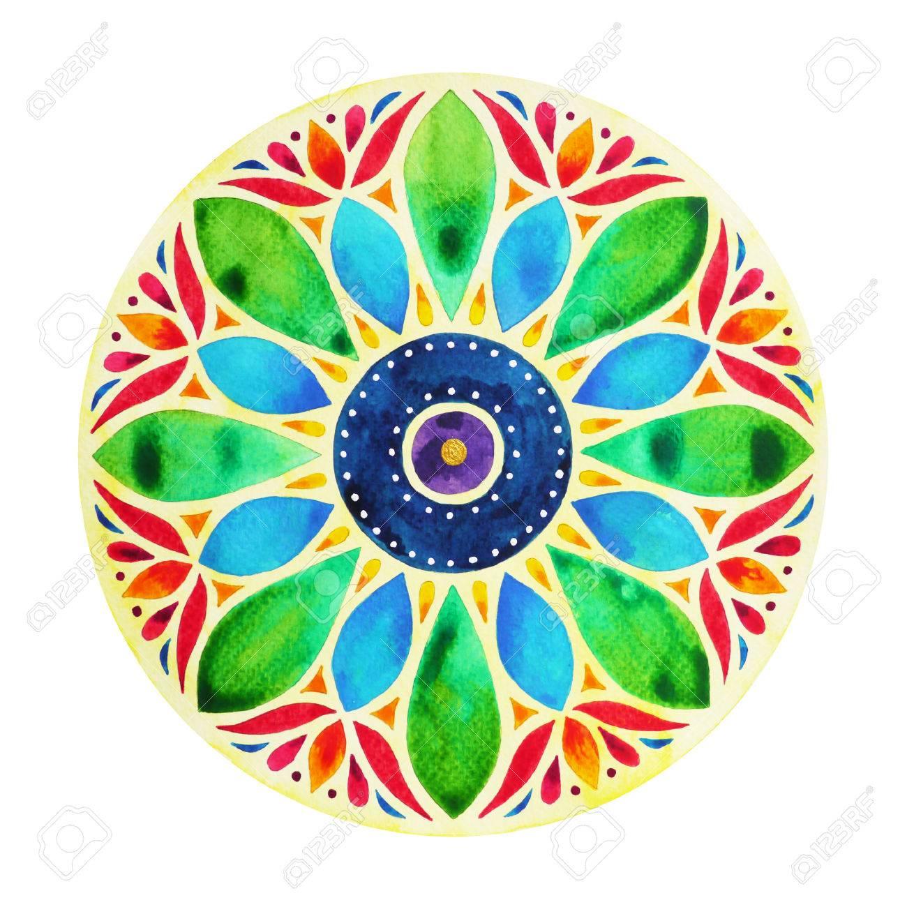 Power 7 Color Chakra Sign Symbol Colorful Lotus Flower Symbol