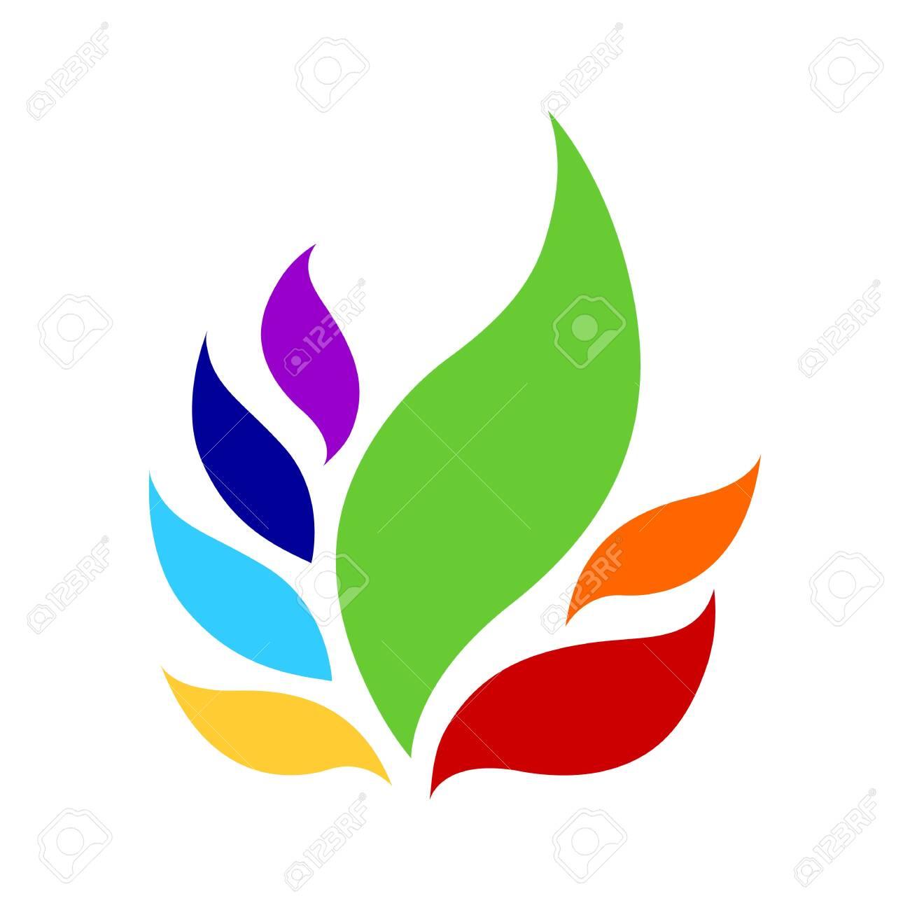 7 chakra color icon symbol logo sign, flower floral, vector design illustration concept drawing - 143621175
