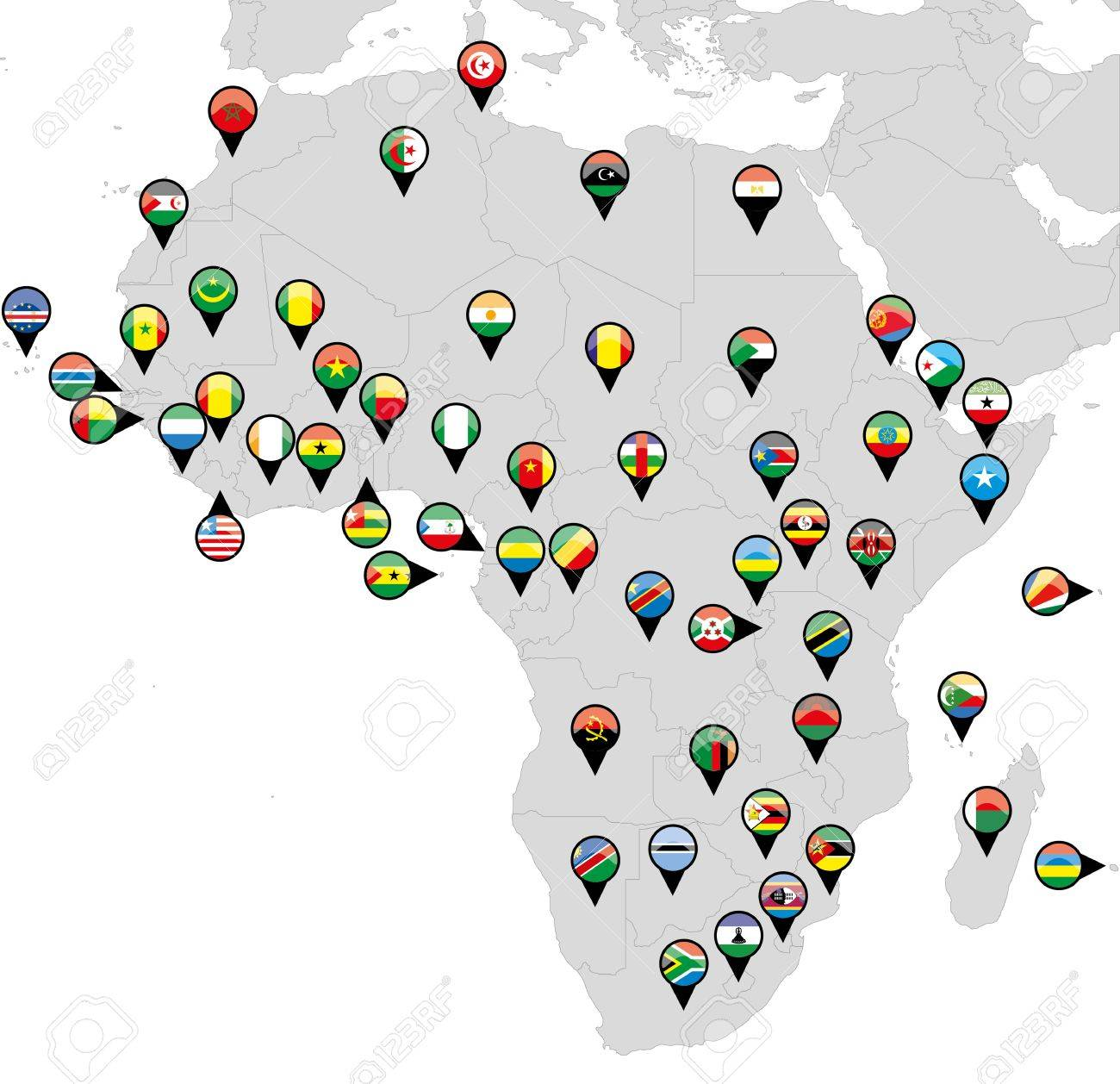 Pinned countries flags on map of Africa Stock Vector - 16765391