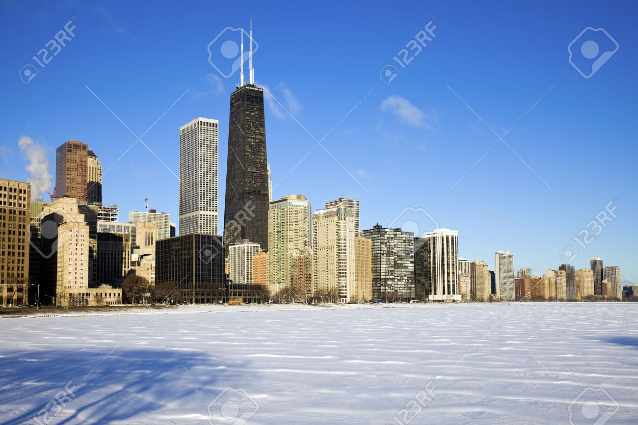 Gold Coast winter time - seen accross frozen Lake Michigan. Stock Photo - 7078219