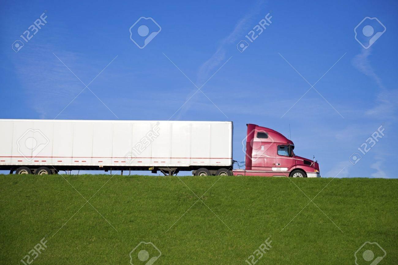 Semi Truck on the road Stock Photo - 7077575