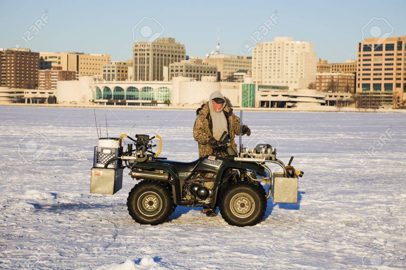 Saturday Morning Snow In Madison >> Fisherman With His Quad On The Frozen Lake Monona In Madison