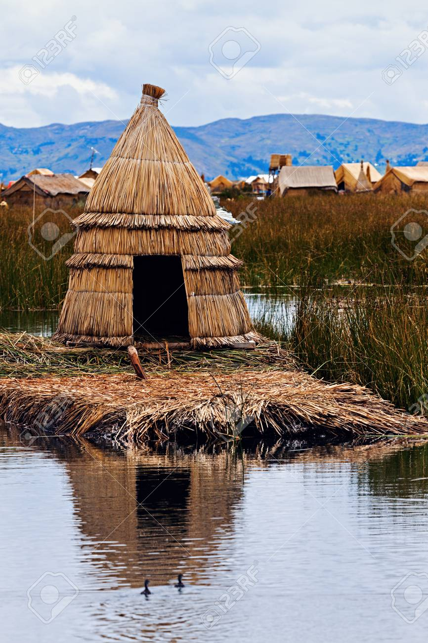 Hut On Floating Islands Puno Peru Stock Photo Picture And