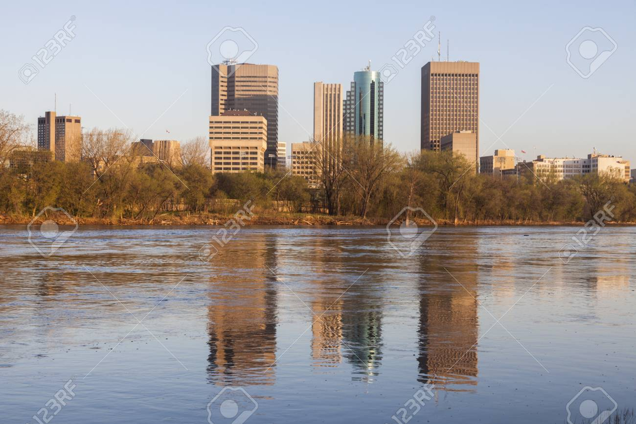 Skyline of Winnipeg at sunrise  Winnipeg, Manitoba, Canada