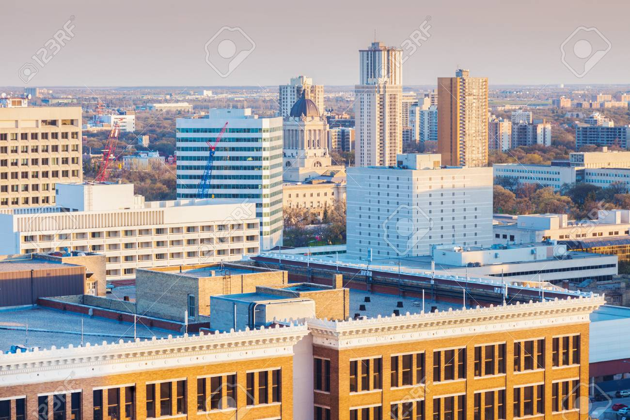 Skyline of Winnipeg with Manitoba Legislative Building  Winnipeg