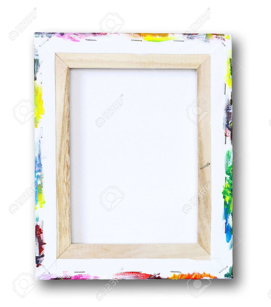 canvas on a stretcher, acrylic paint on edge isolated on white Stock Photo - 10352445