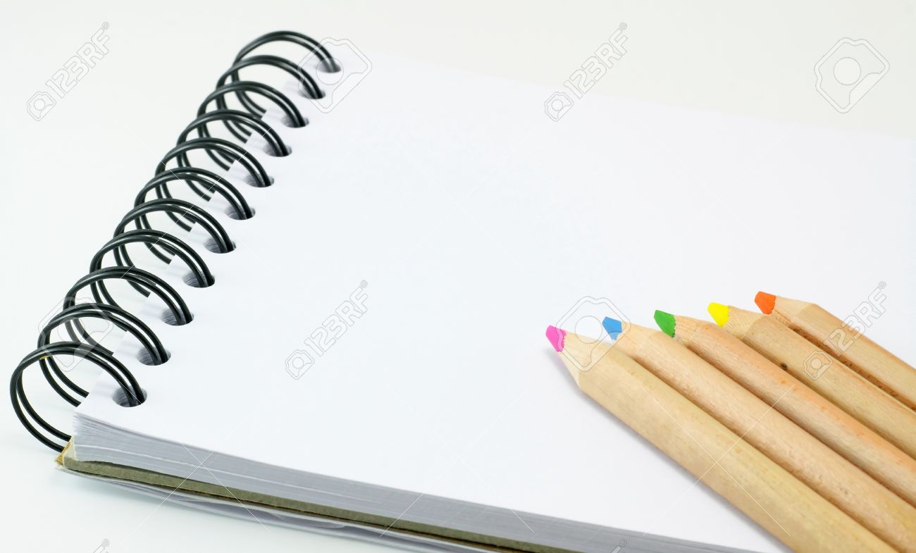 Sketch book color pencil on white background stock photo 11773155