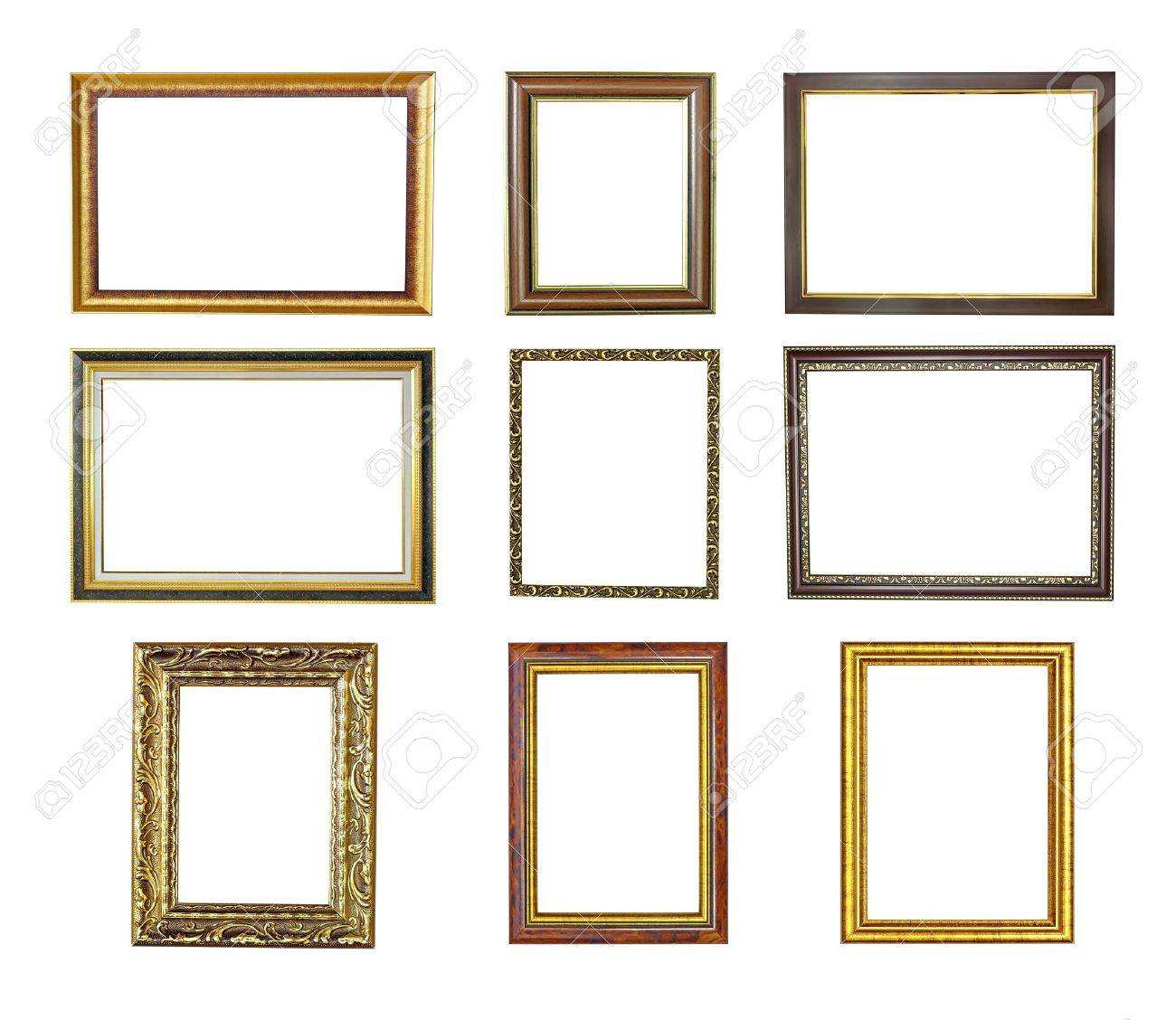 Nine Picture Frames Isolated On White . High Resolution Stock Photo ...