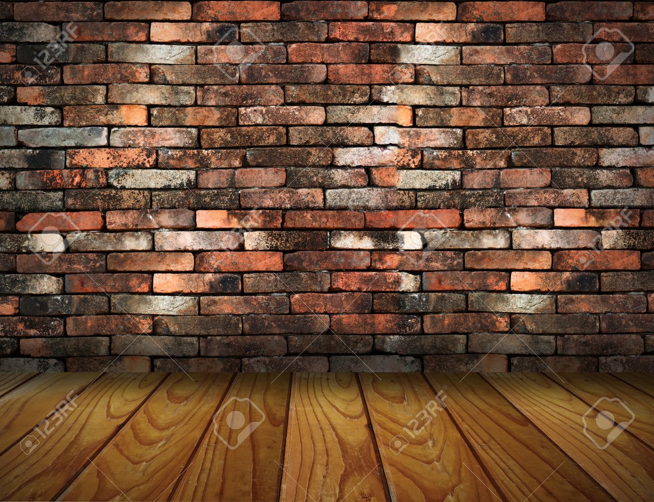 vintage brick wall and wood floor texture interior Stock Photo - 13271869
