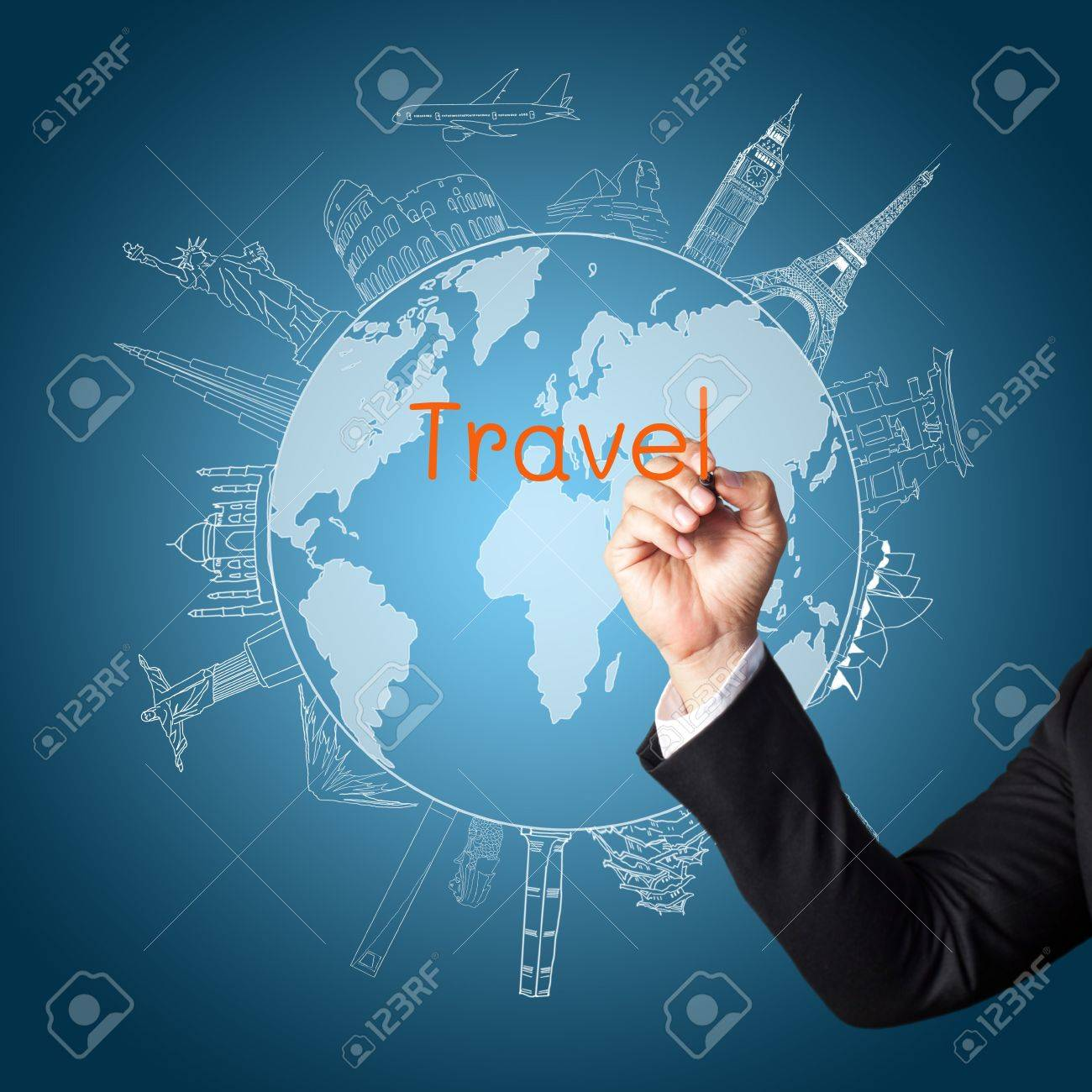 drawing the concept travel around the world Stock Photo - 14399803