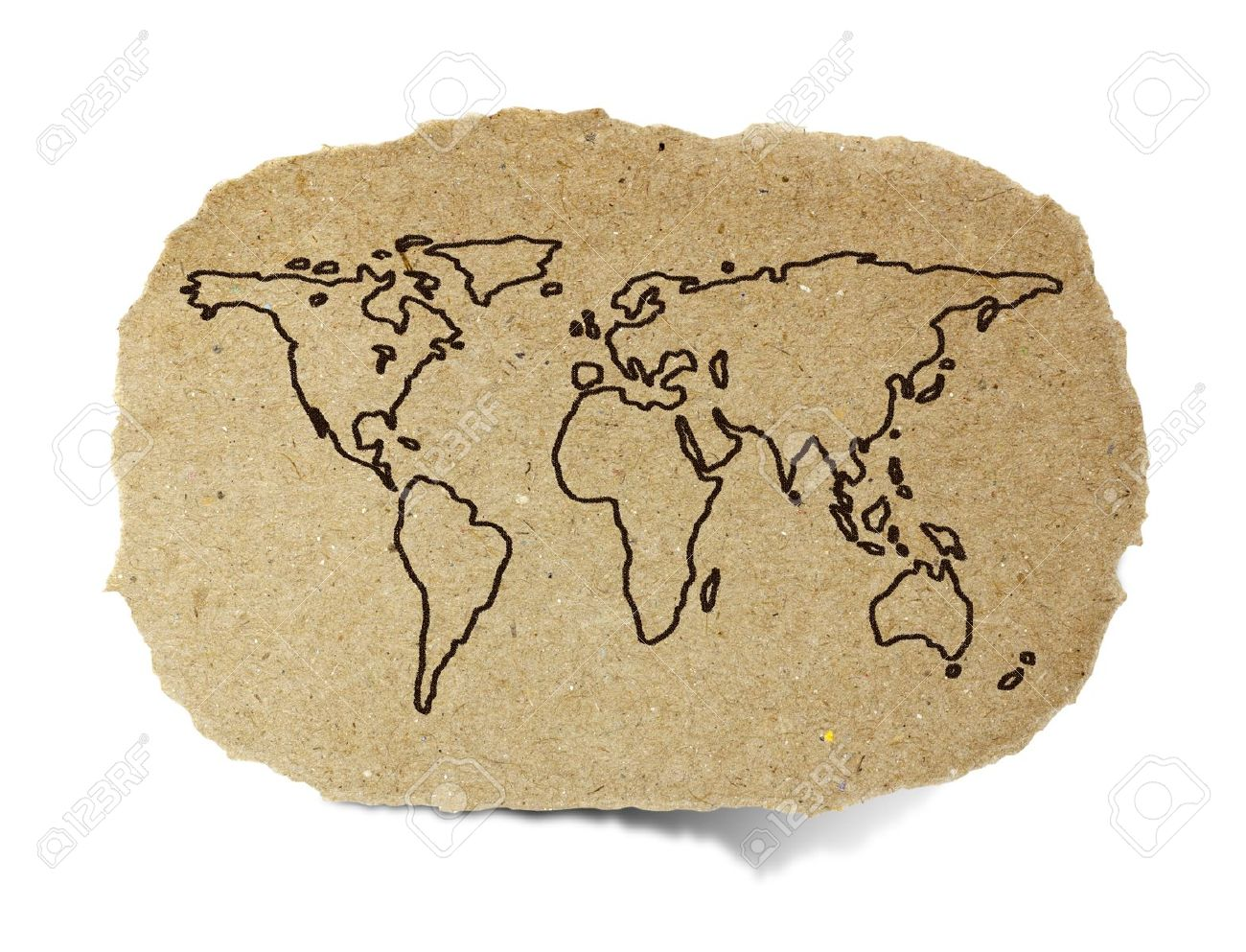 Drawing World Map On A Recycle Paper Stock Photo Picture And