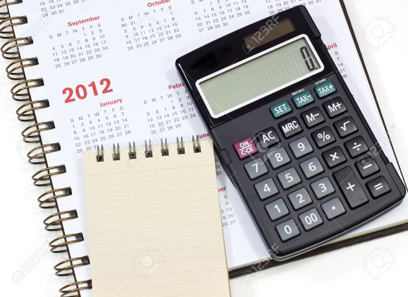 Calendar Notebook Calculator Stock Photo Picture And Royalty Free