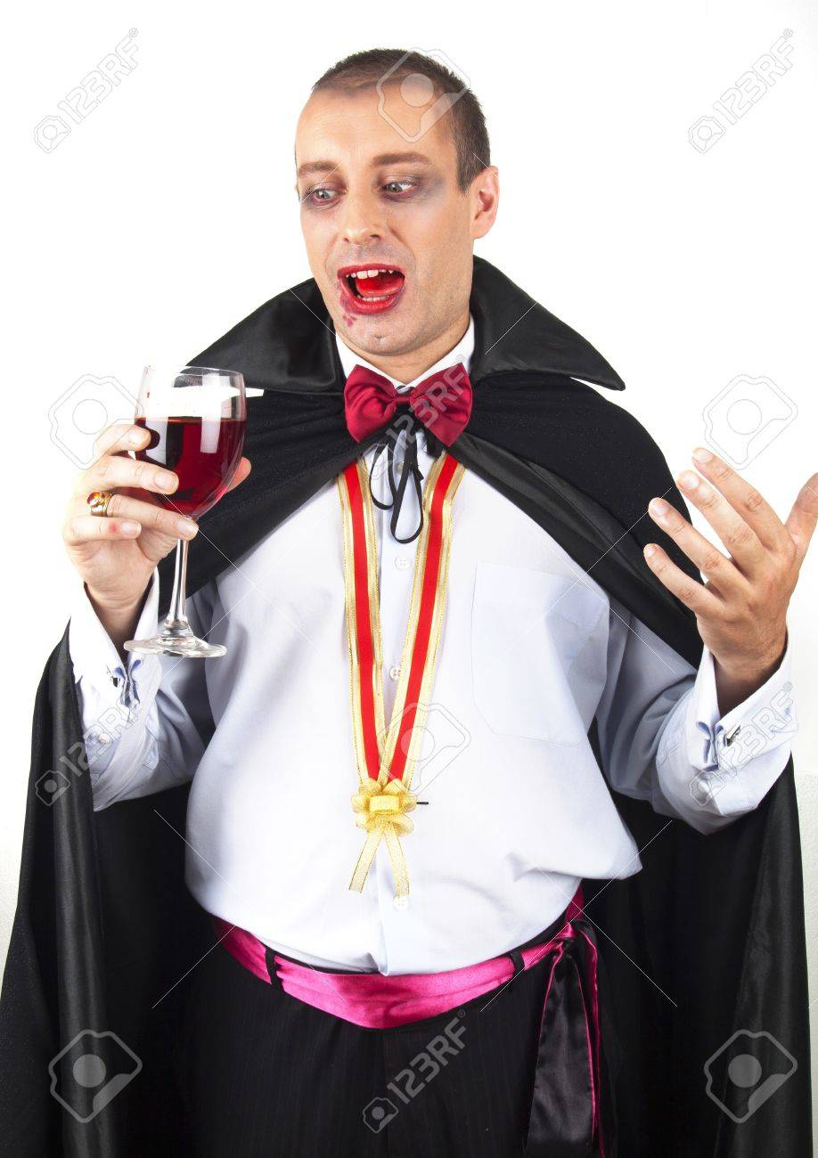 portrait of a handsome young man in a suit of Count Dracula Stock Photo - 15831321