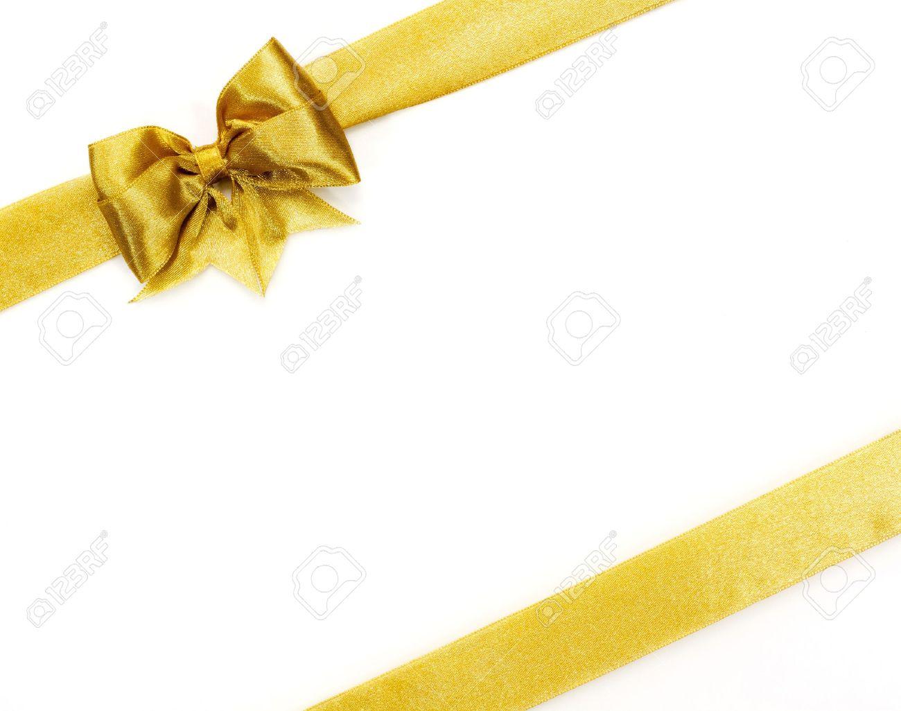 Golden satin gift bow  Ribbon on white Stock Photo - 16554998
