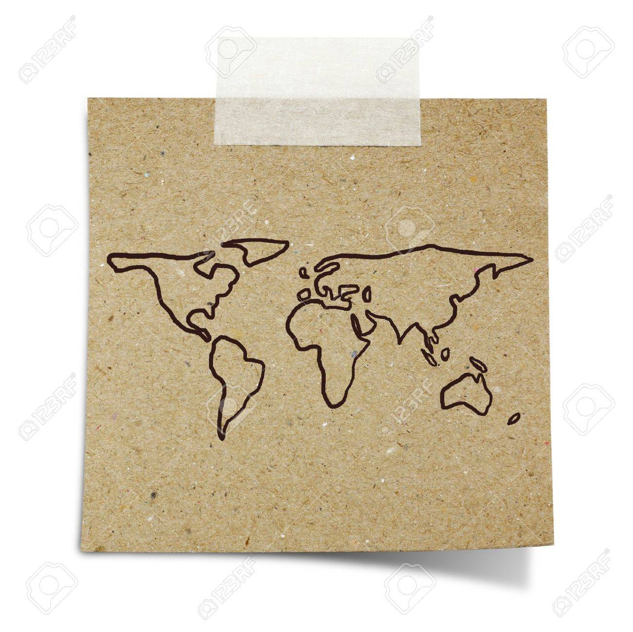 Hand Draw World Map On Note Taped Recycle Paper Stock Photo, Picture ...