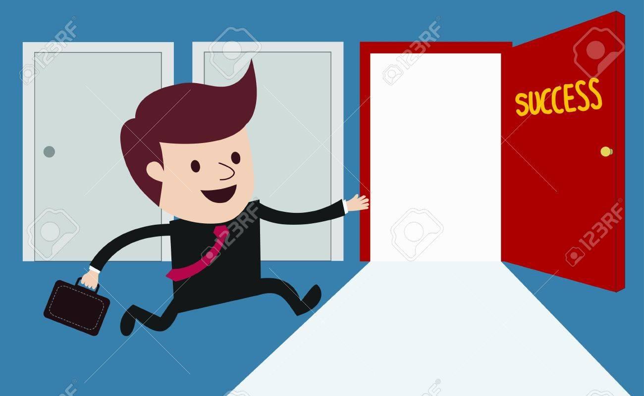 business man running to success door concept Stock Vector - 21424280