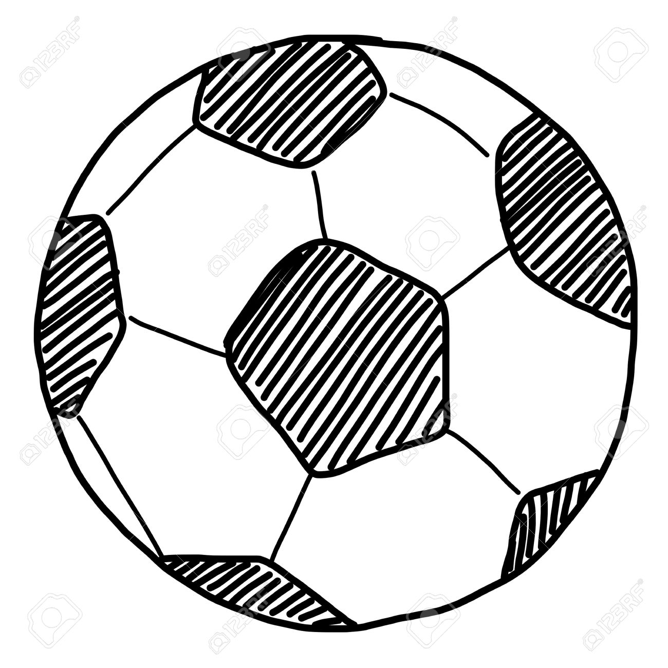 Ballon De Football De Dessiner à Main Sur Blanc Banque Dimages Et