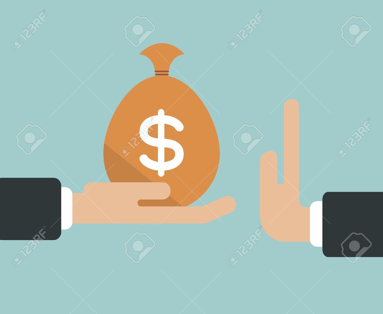 Businessman hand refusing the offered bribe money bag vector illustration - 39478334