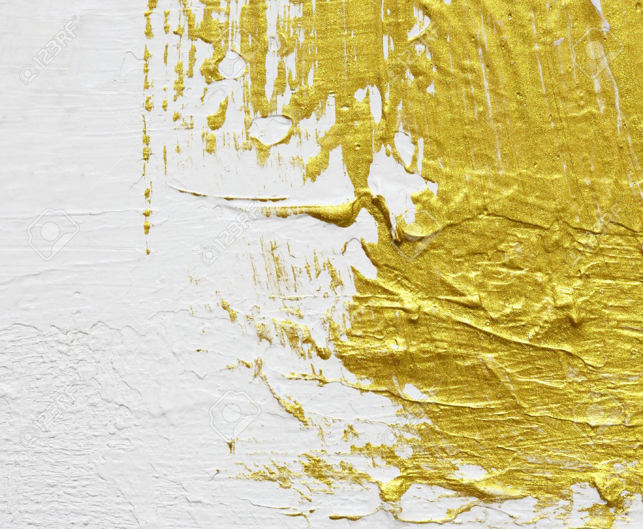 dc9e920f9d4 gold textured abstract painting on white background Stock Photo - 53347124