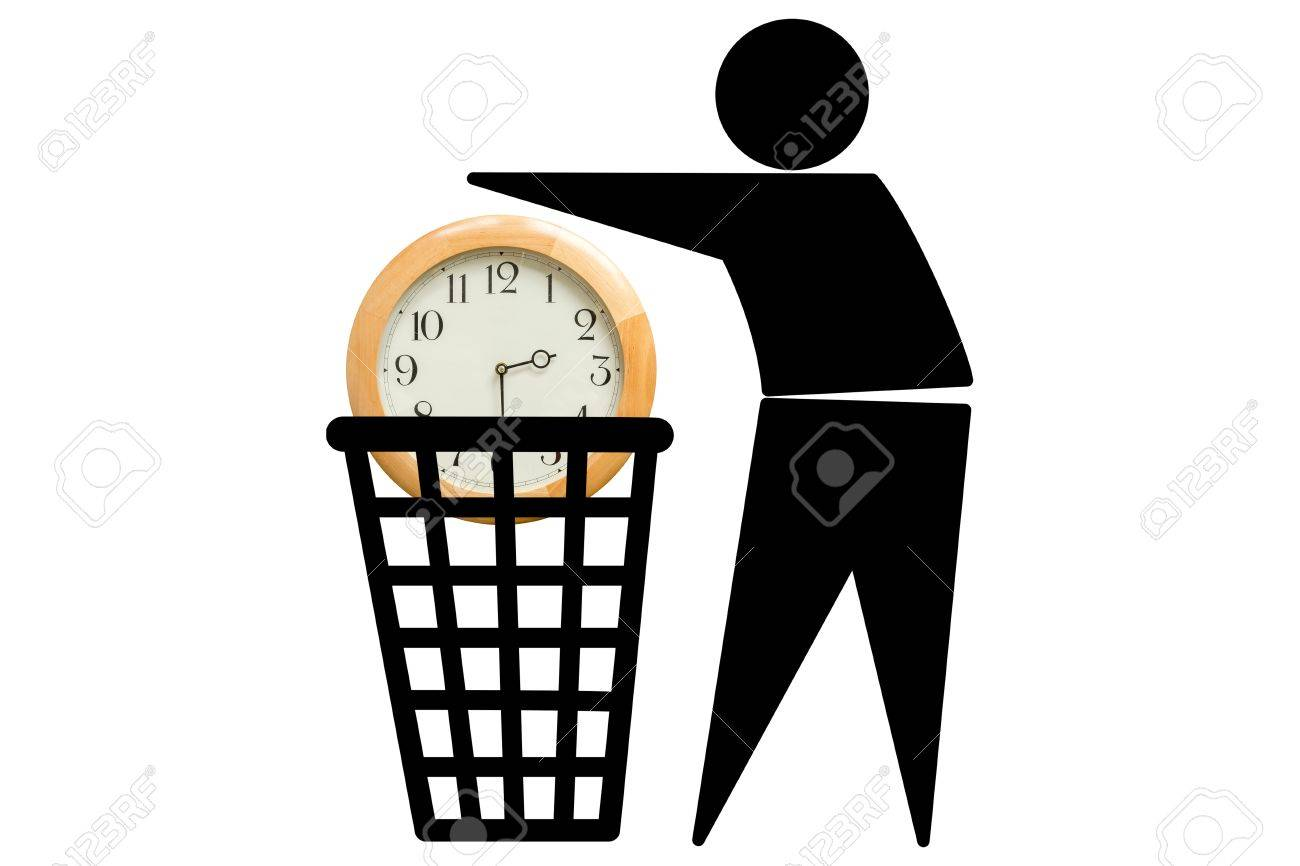 The image of a man who wastes time. We often do not give enough importance to time, we take it for granted and do not know to use it well. Wasting time concept. - 41665061
