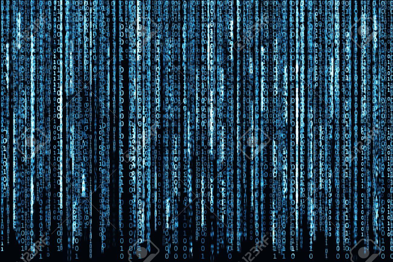 Big Blue Binary code as matrix background, computer code with binary characters shining. Stock Photo - 41594609