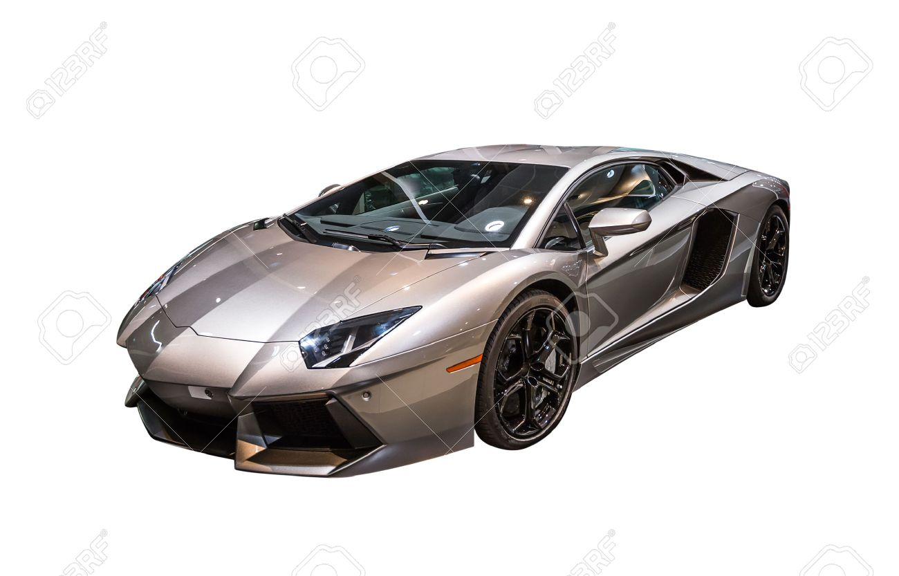 closeup of a luxurious lamborghini aventador sports car isolated