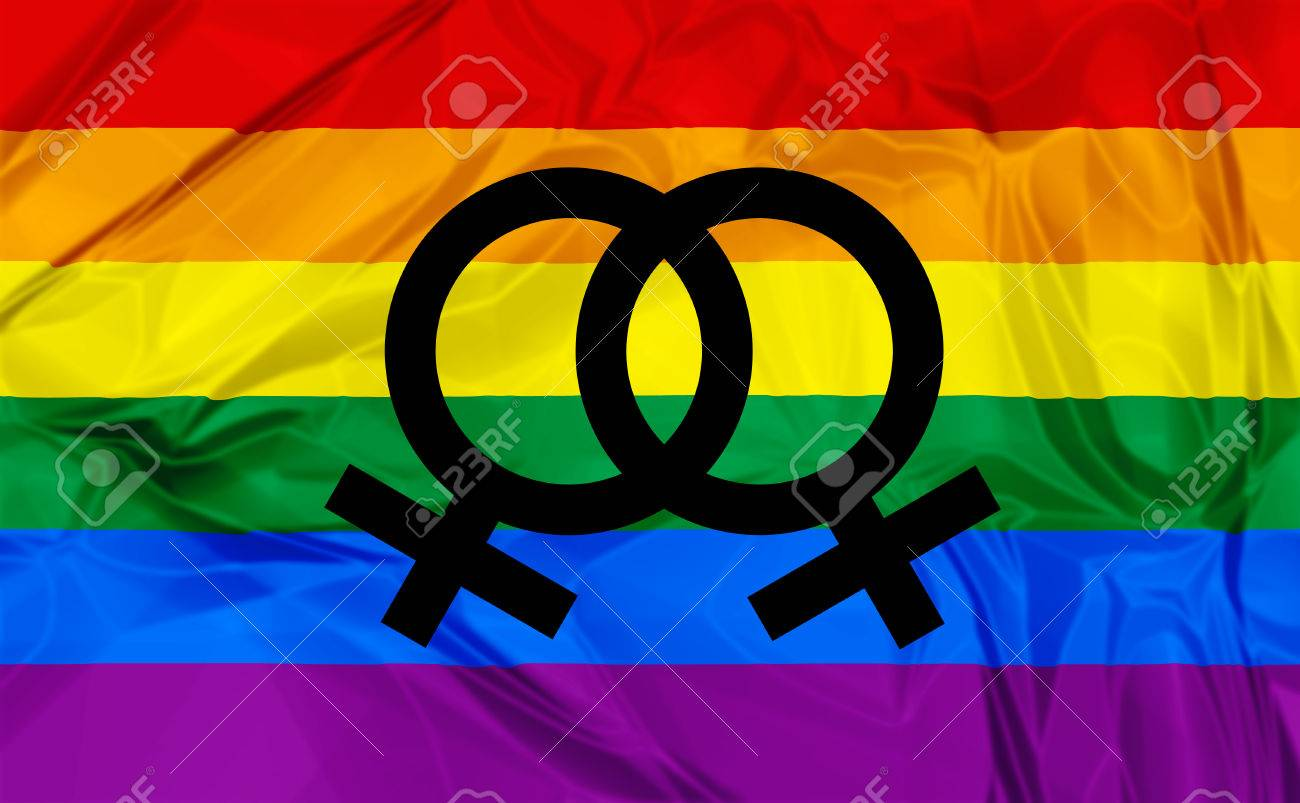 Illustration Of Colorful Rainbow Flag And Symbol For Gay Lesbian