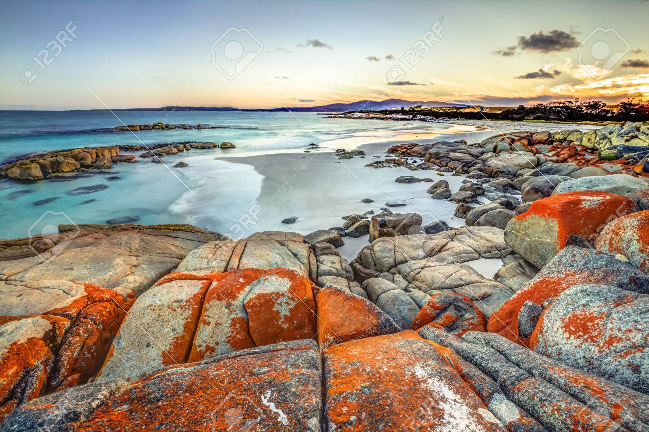 Drammatic landscape in The Gardens, Bay of Fires consevation Area ranging from Binalong Bay to Eddystone Point, east coast of Tasmania in Australia. . - 41955640