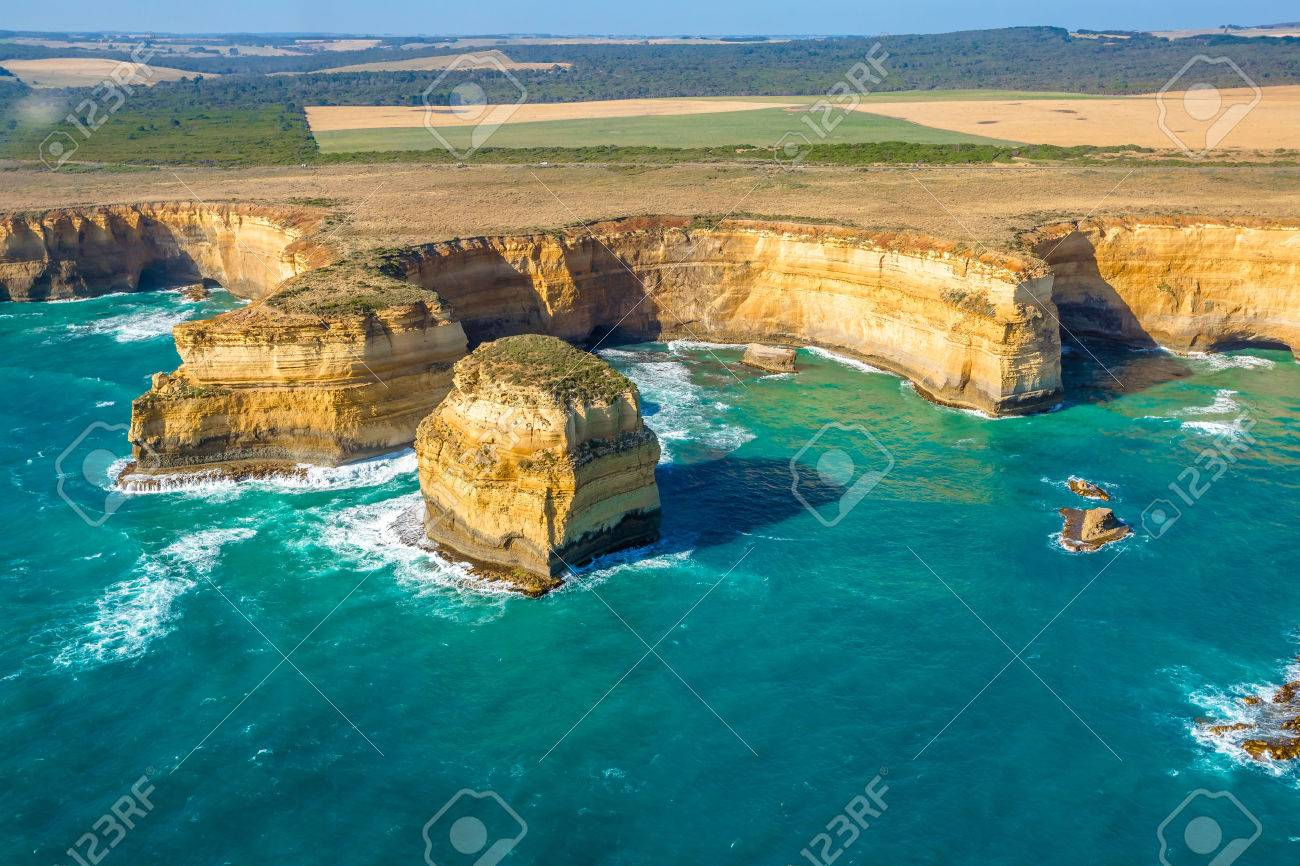 Aerial view of shipwreck coast on the Great Ocean Road in Victoria, Australia famous attraction of the Port Campbell National Park. - 42024546