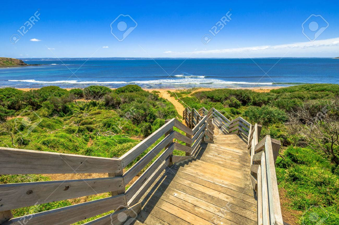 Wooden stairs to Ventnor beach, Phillip Island, Victoria Australia. Stock Photo - 42024621
