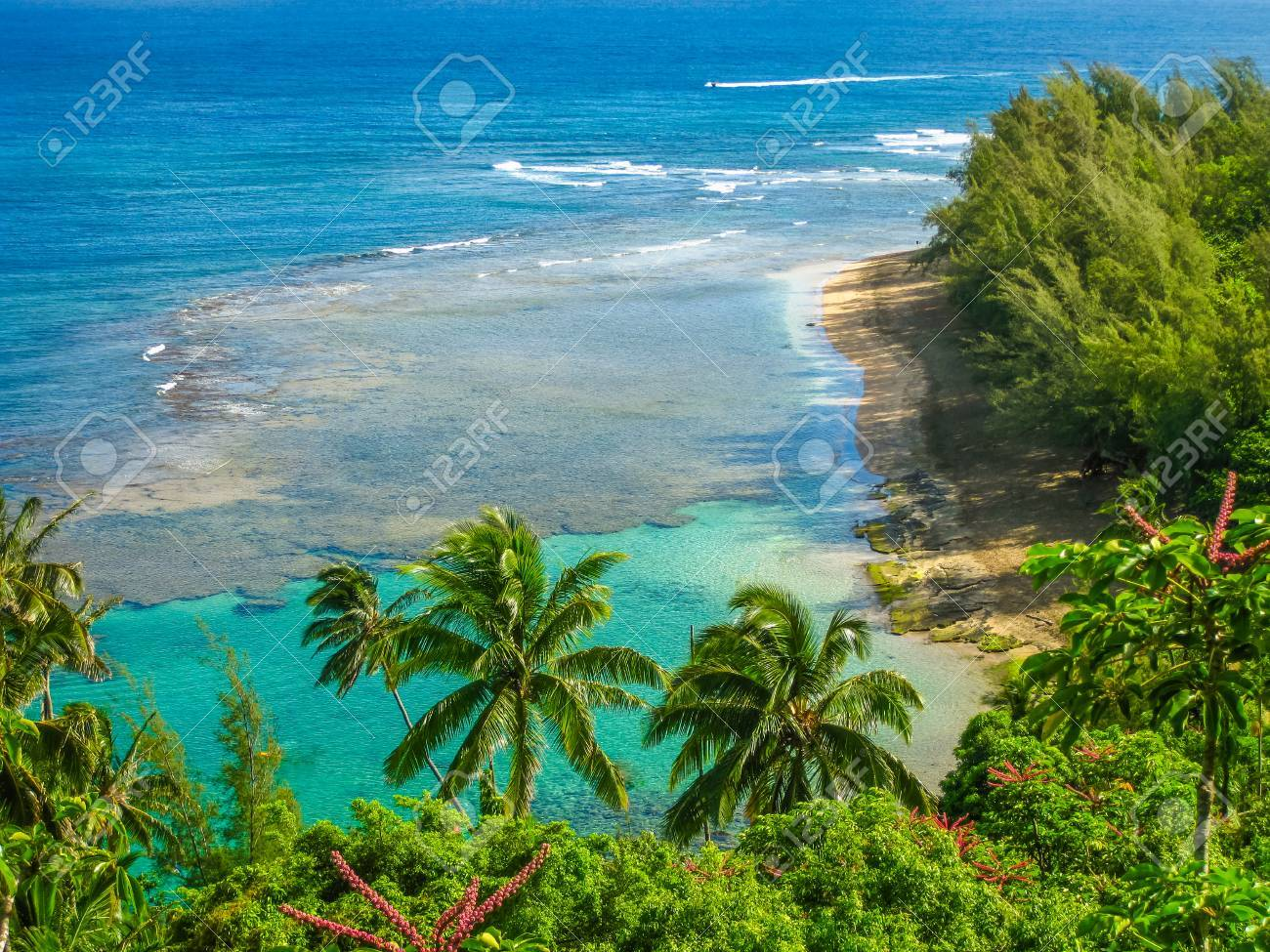 Panoramic view of the famous Kee Beach in Kauai, Hawaii, United States. Stock Photo - 42250229