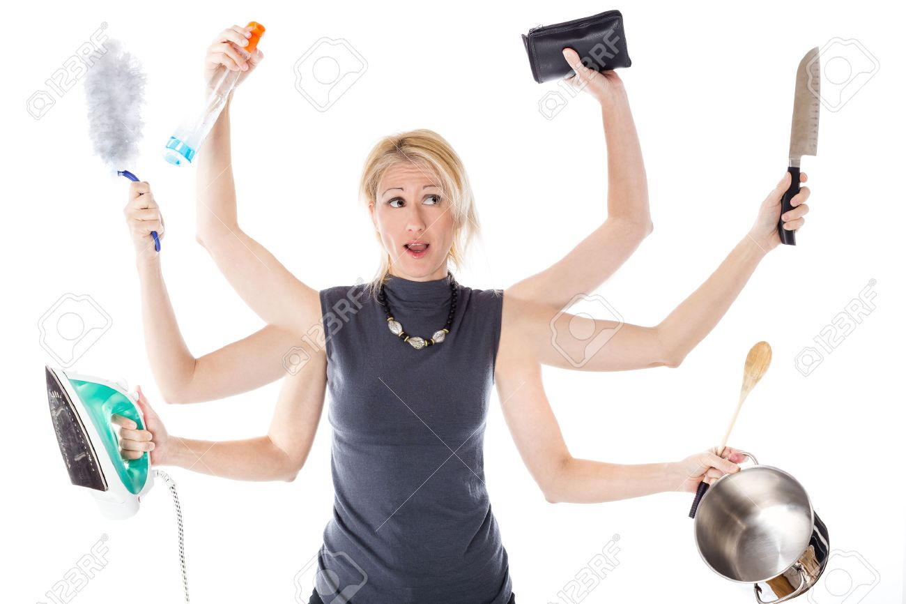 Very busy multitasking housewife on white background. Concept of supermom and superwoman. Stock Photo - 42714188