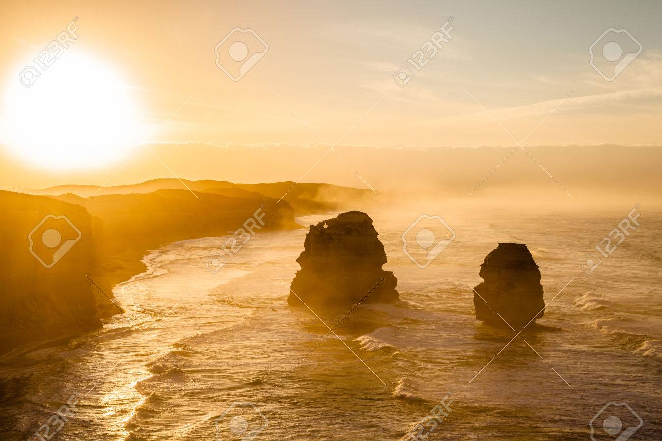 Spectacular sunset of Gibson Steps by the Twelve Apostles in Port Campbell National Park on the Great Ocean Road, Victoria state, Australia. - 42886139