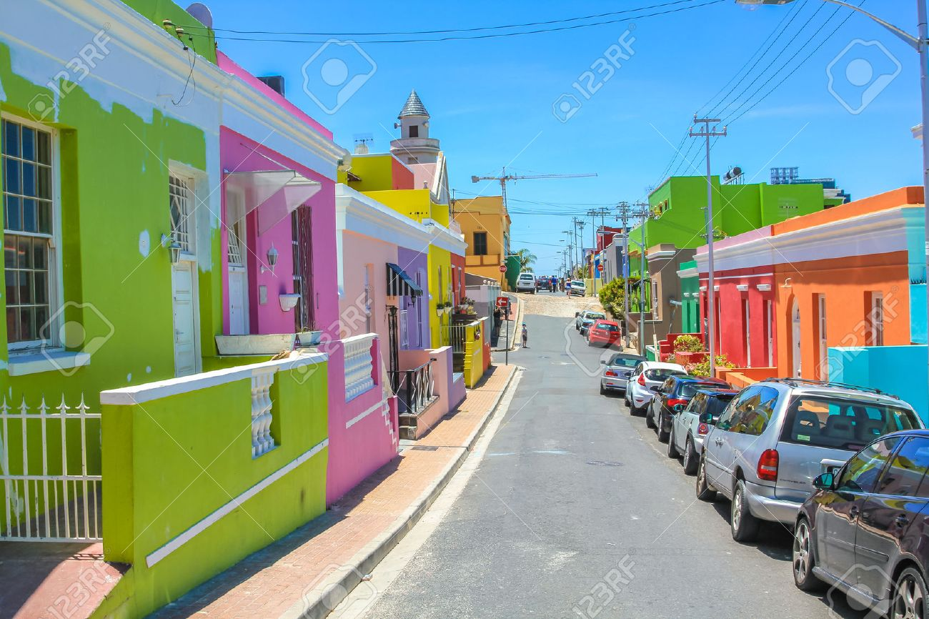 The colorful houses of Bo-Kaap, famous Malay Quarter is the Muslim Malay village in Cape Town, one of the most picturesque part of town, South Africa. Stock Photo - 45850840