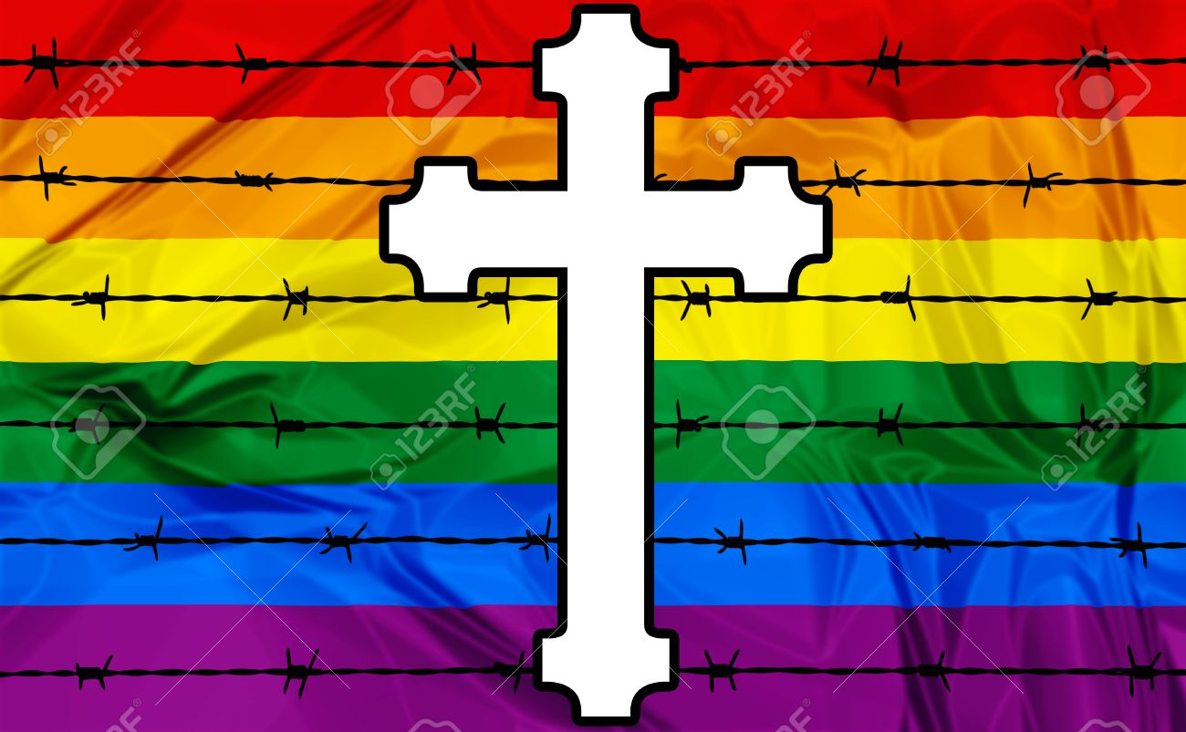 Illustration About Colorful Rainbow Flag And A White Cross With