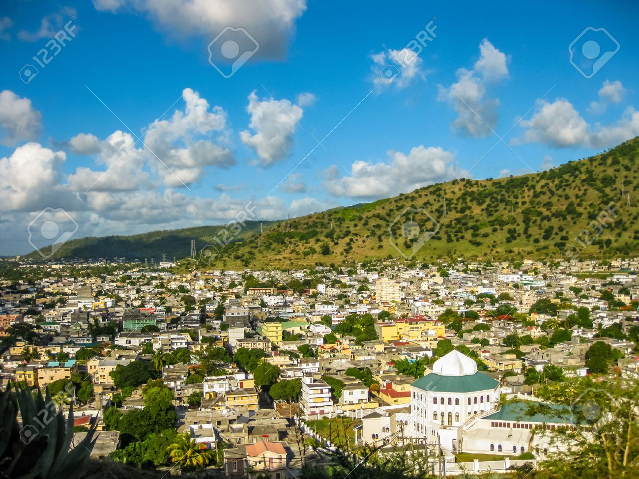 Aerial view of the city of Port Louis, Fort Adelaide overlook, La Citadelle, the capital of the Mauritius Republic, Indian Ocean. Stock Photo - 47470040