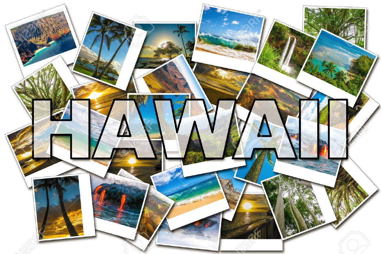 Hawaii pictures collage of different famous locations of the islands of Maui, the Big Island and Kawaii Hawaii, United States. Stock Photo - 47790916