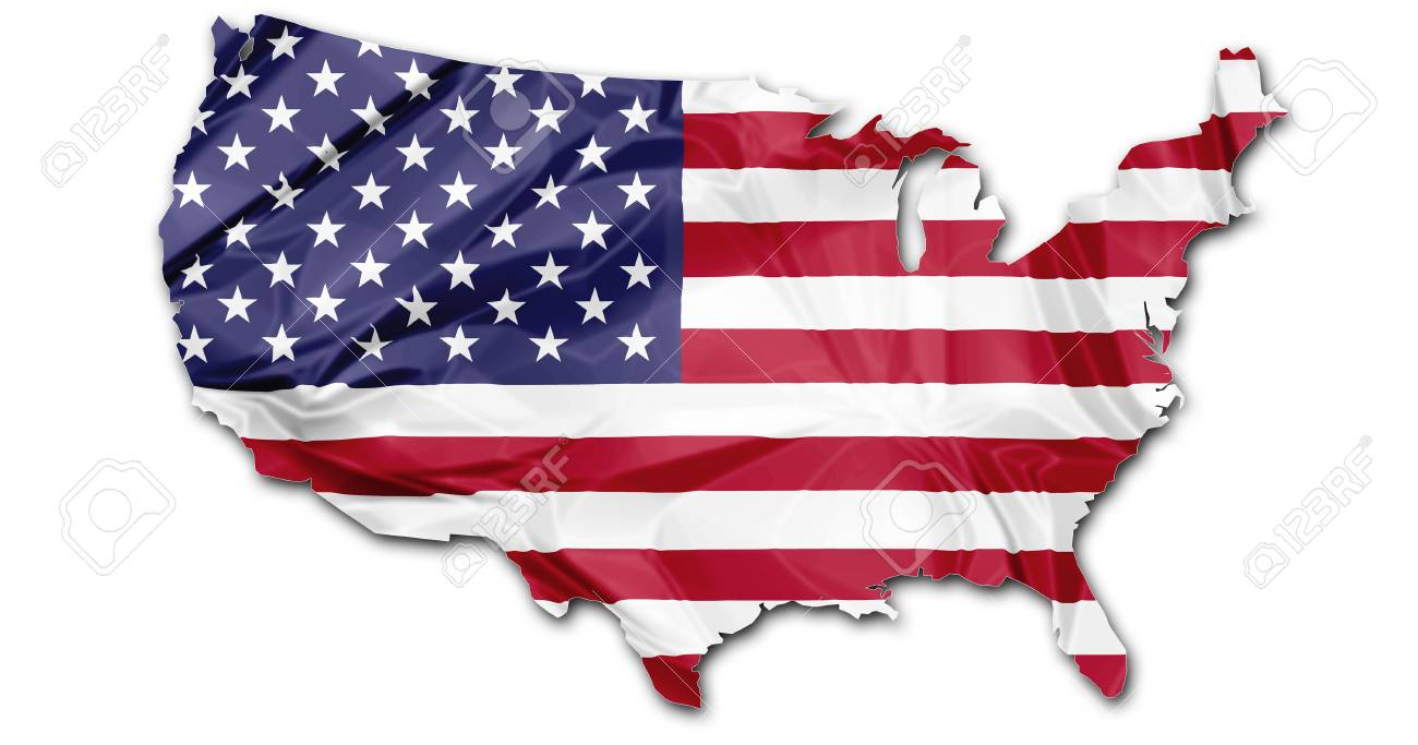 The national US flag in map of United States isolated on white background. - 47922949