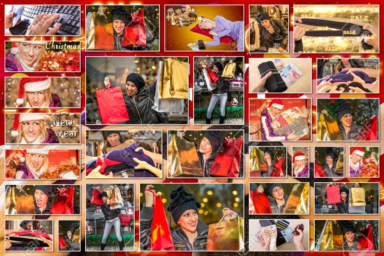 bilder collage von ausdrücken von frauen mit bunten taschen und