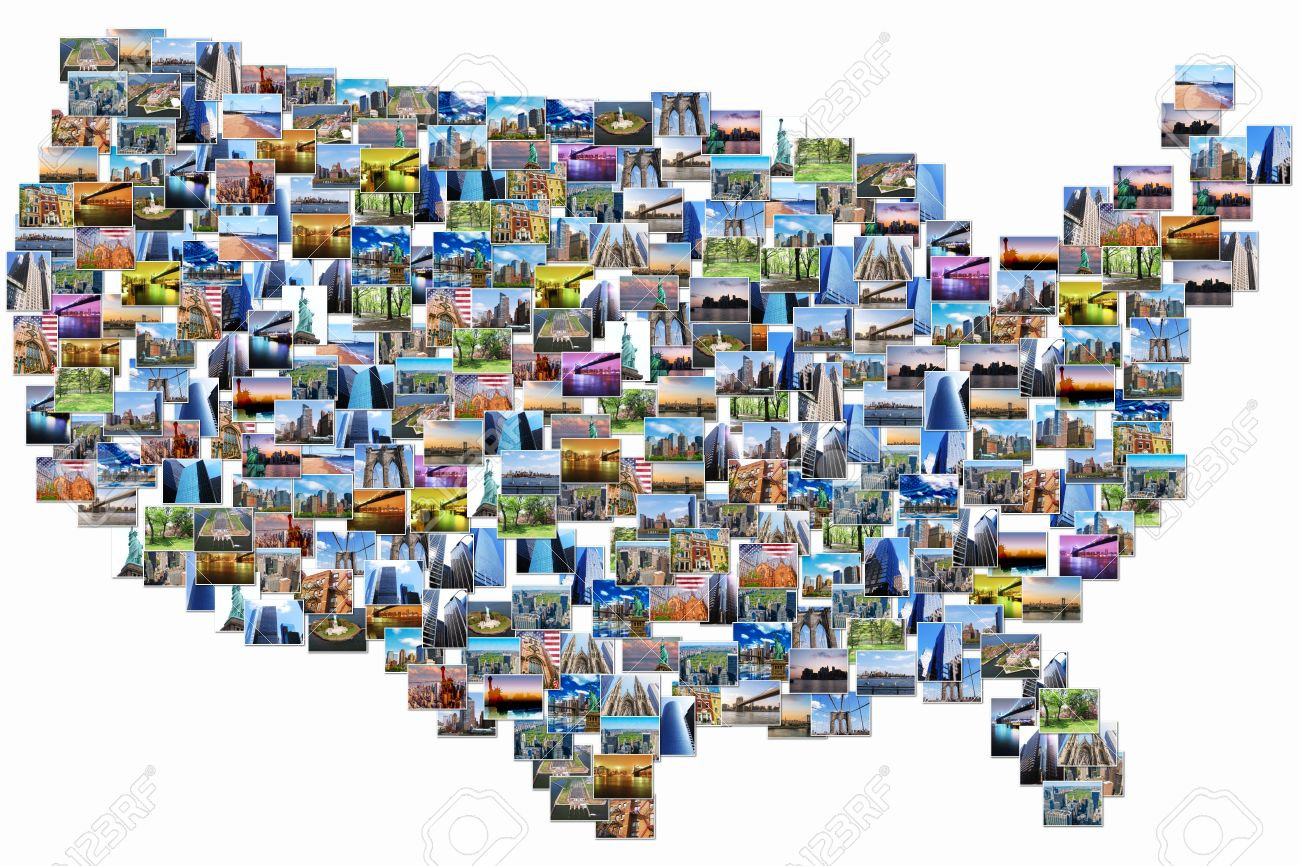 USA Map Pictures Collage Of Different Famous Locations Landmark - Us map with famous landmarks