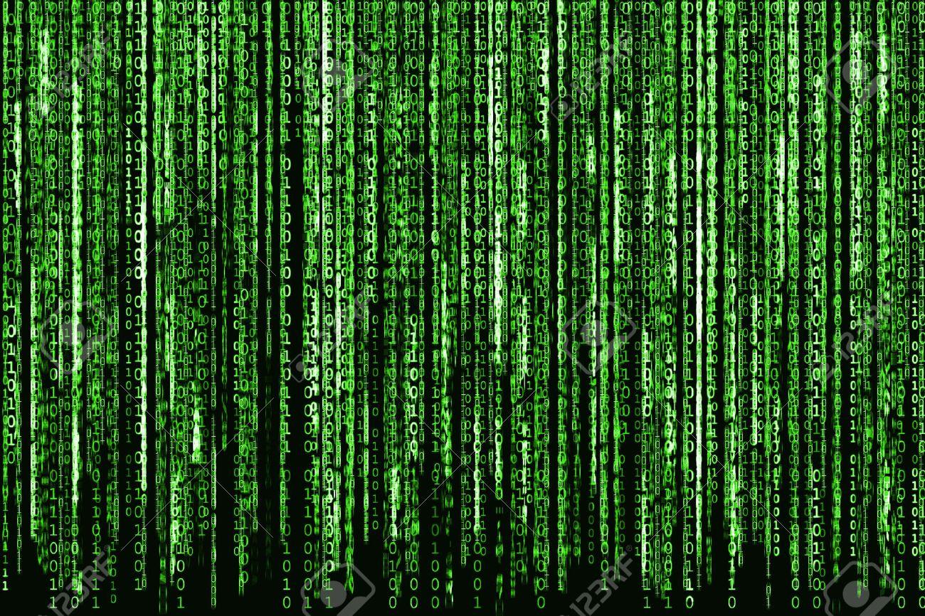 Big Green Binary code as matrix background, computer code with binary characters shining. - 50485752