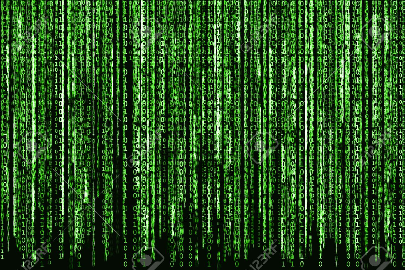 Big Green Binary code as matrix background, computer code with binary characters shining. Stock Photo - 50485752
