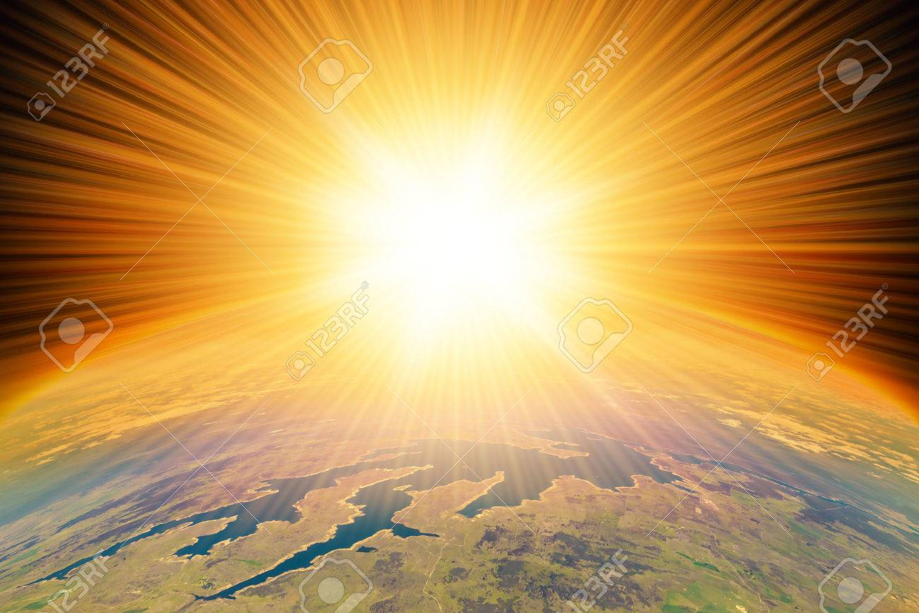 Nuclear Missile Blast impact  on planet Earth.  Third world war, end of the world, aerial view Stock Photo - 50651107