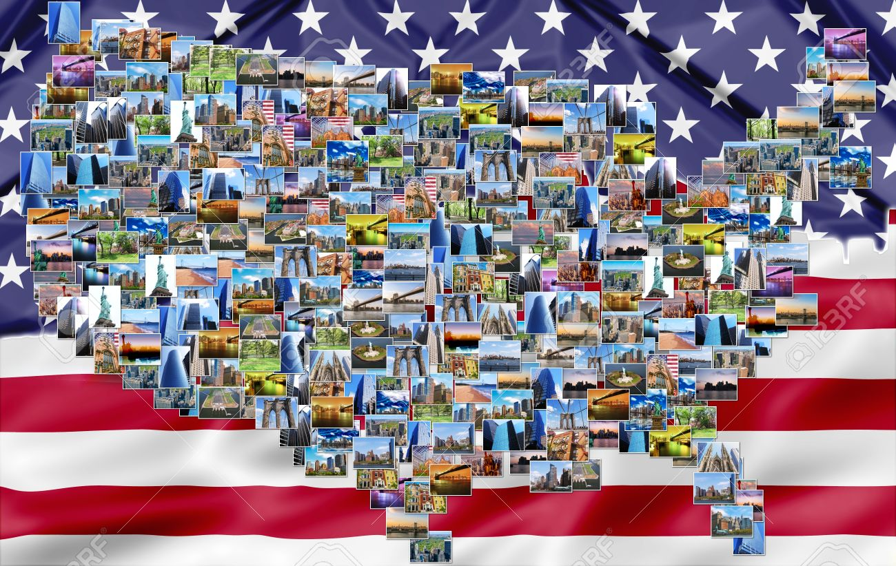 stock photo usa map pictures collage of different famous locations landmark of new york united states usa with american flag background