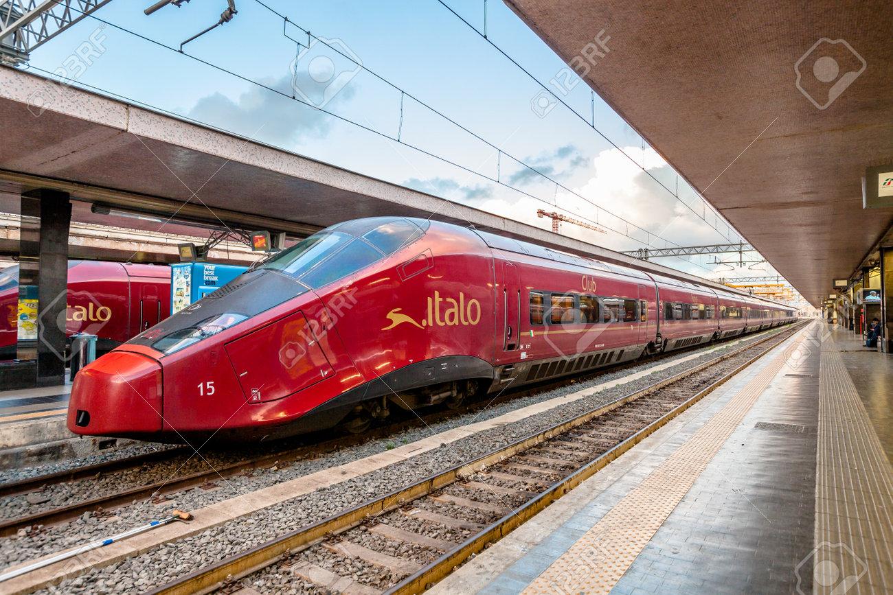 Rome, Italy - May 12, 2016: High speed train Italo at Roma Termini railway station. - 56843763